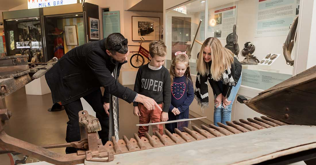 Family viewing exhibitions at the Musuem of the Riverina in Wagga Wagga