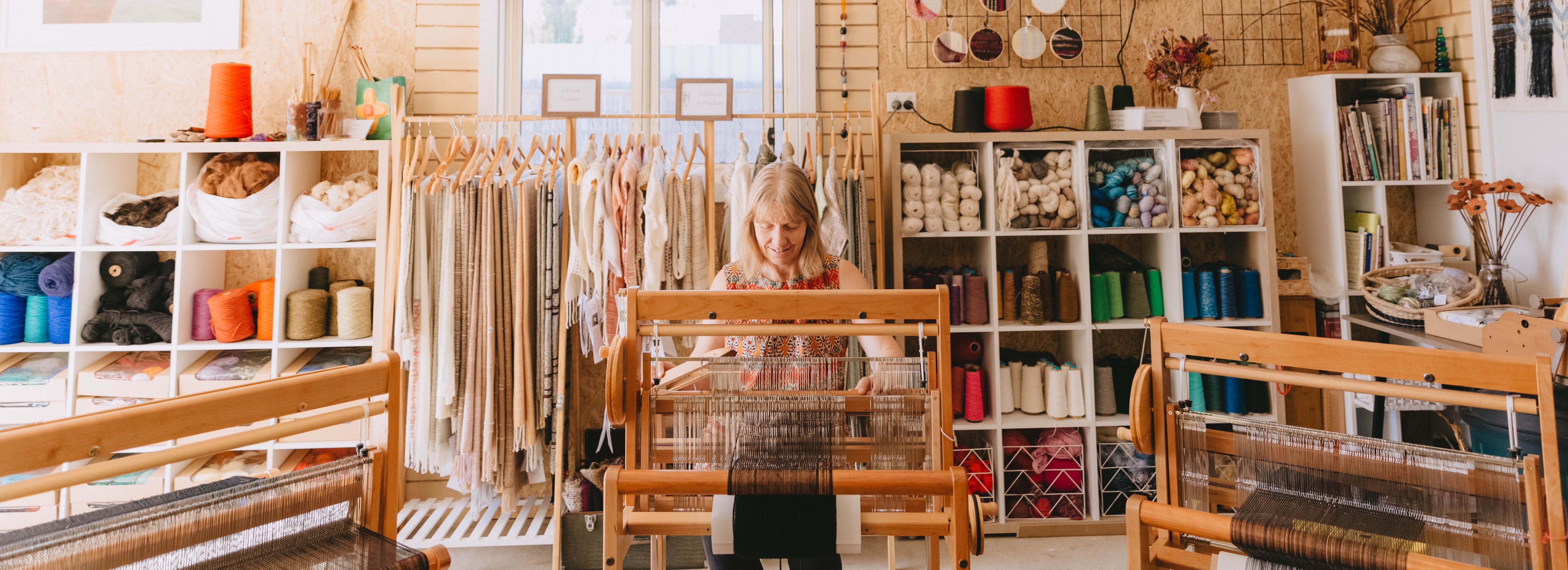 Weaving workshop at Ashculme Textiles in Wagga Wagga