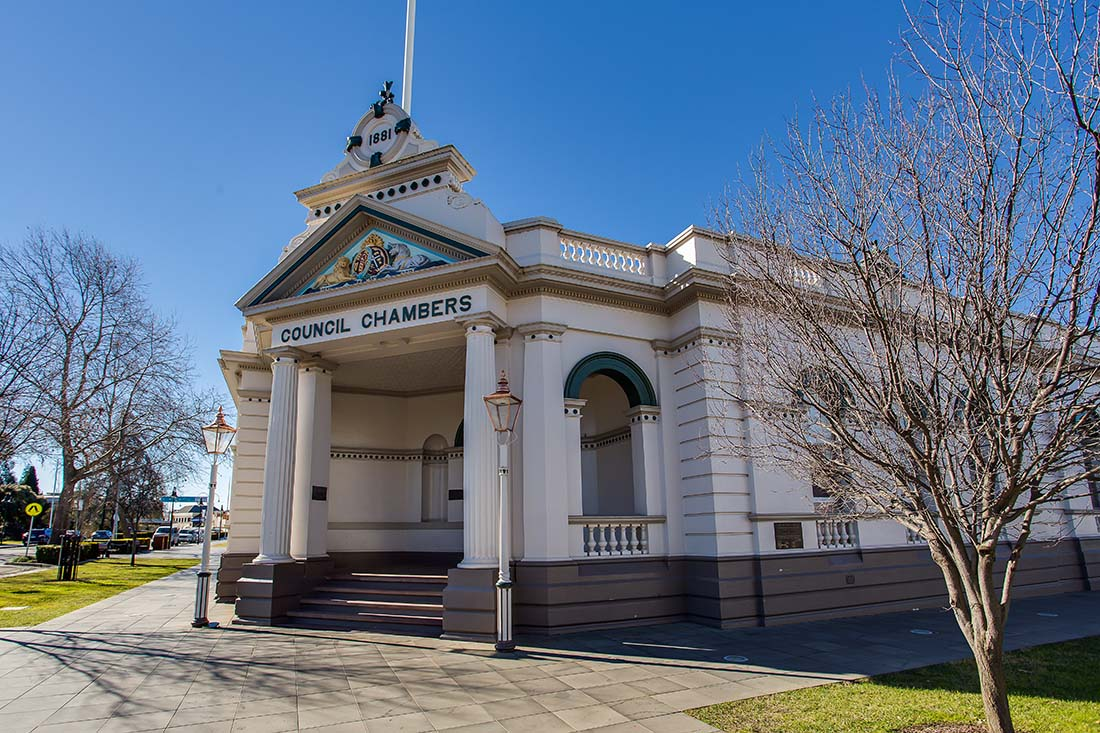 Outside the Museum of the Riverina Historic Council Chambers site in Wagga Wagga