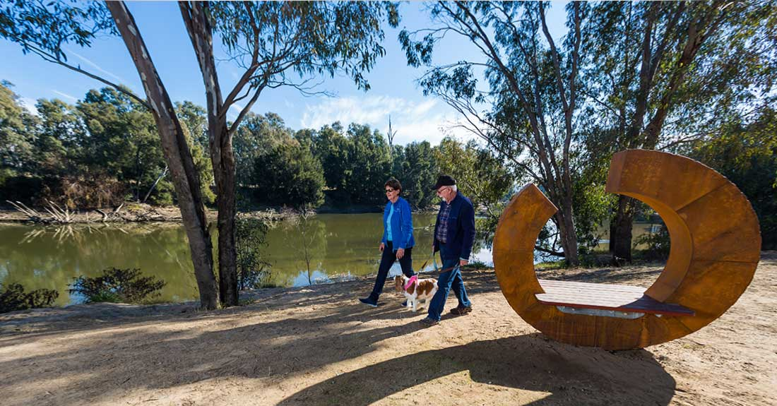 Walking the dog at Oura Beach Reserve along the Murrumbidgee River near Wagga Wagga