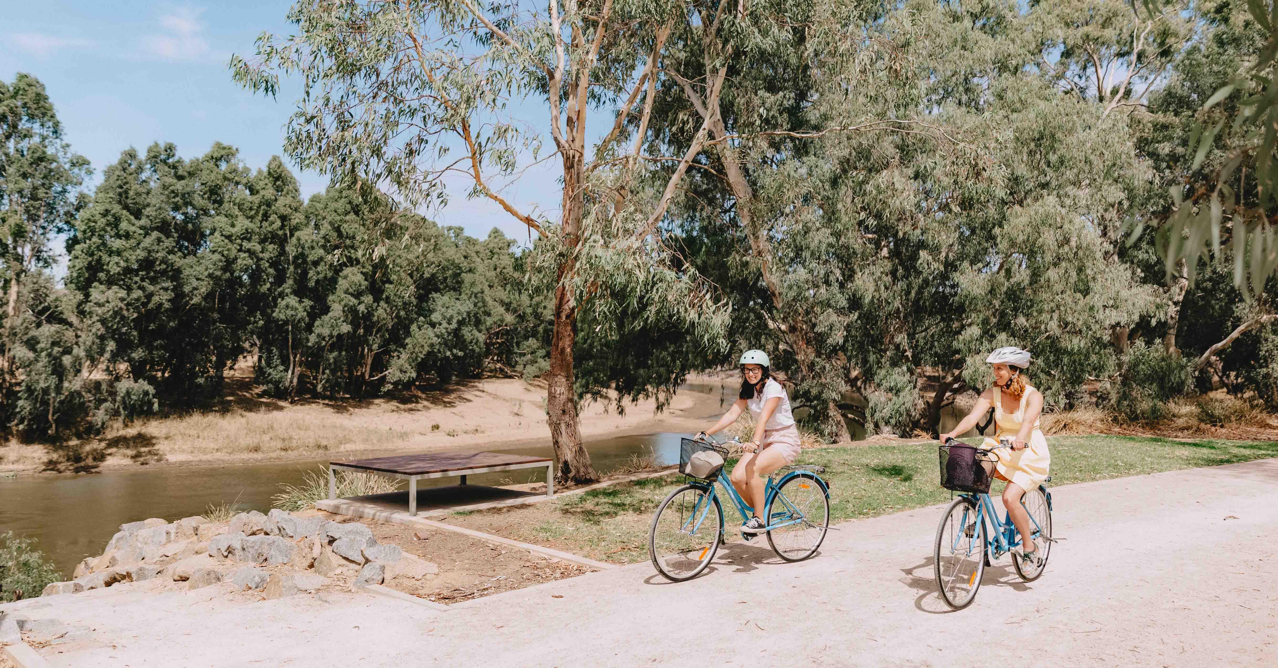 Cycling on the Wiradjuri Walking Track in Wagga Wagga