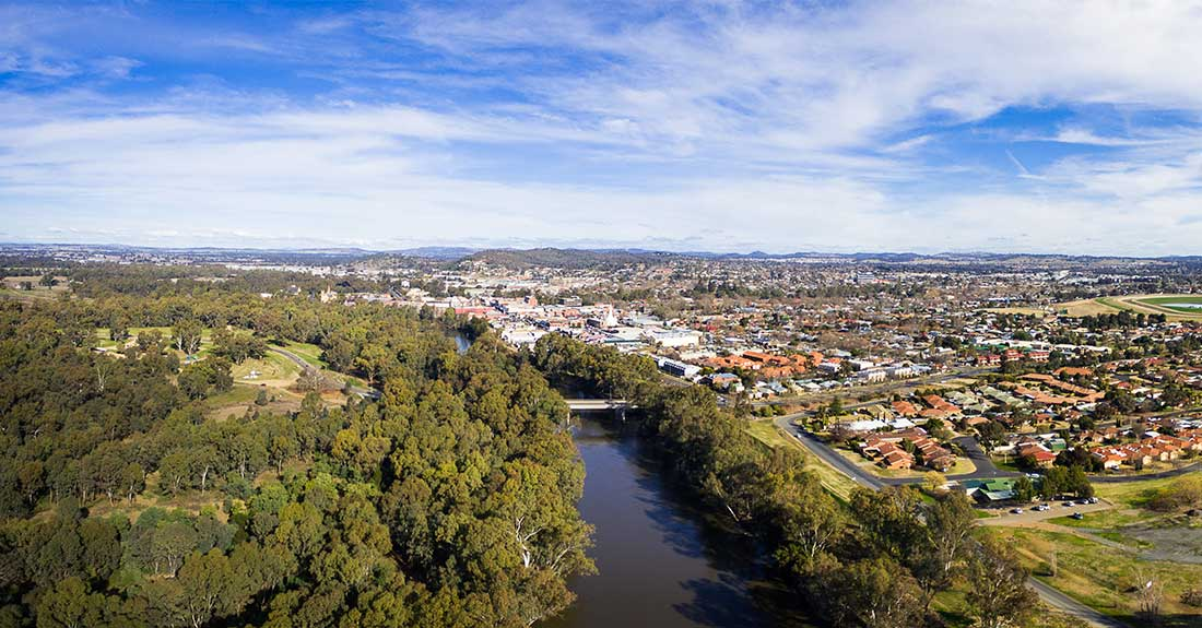 Aerial shot of Wagga Wagga, New South Wales